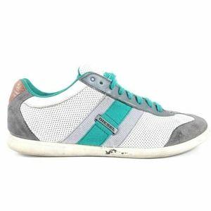 Diesel Mens Lounge Sneakers Gray Green Leather
